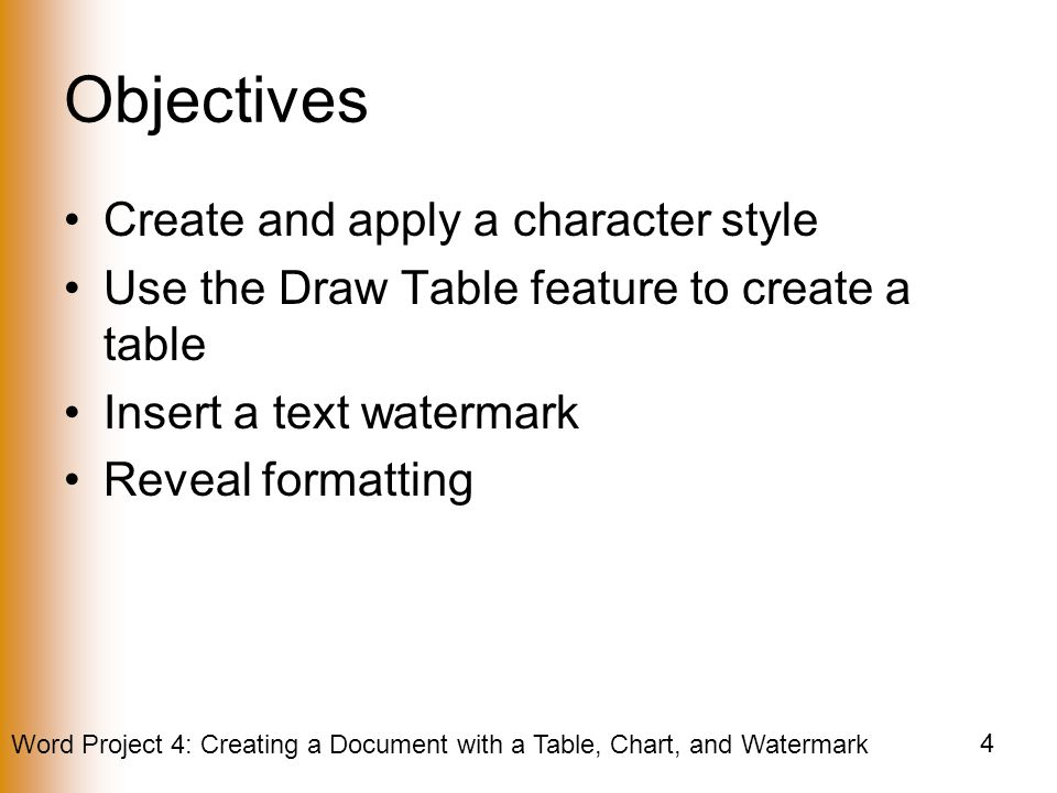 Objectives Create and apply a character style