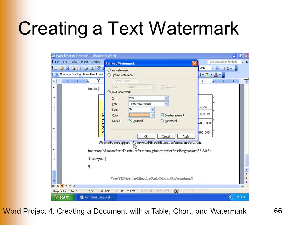 Creating a Text Watermark