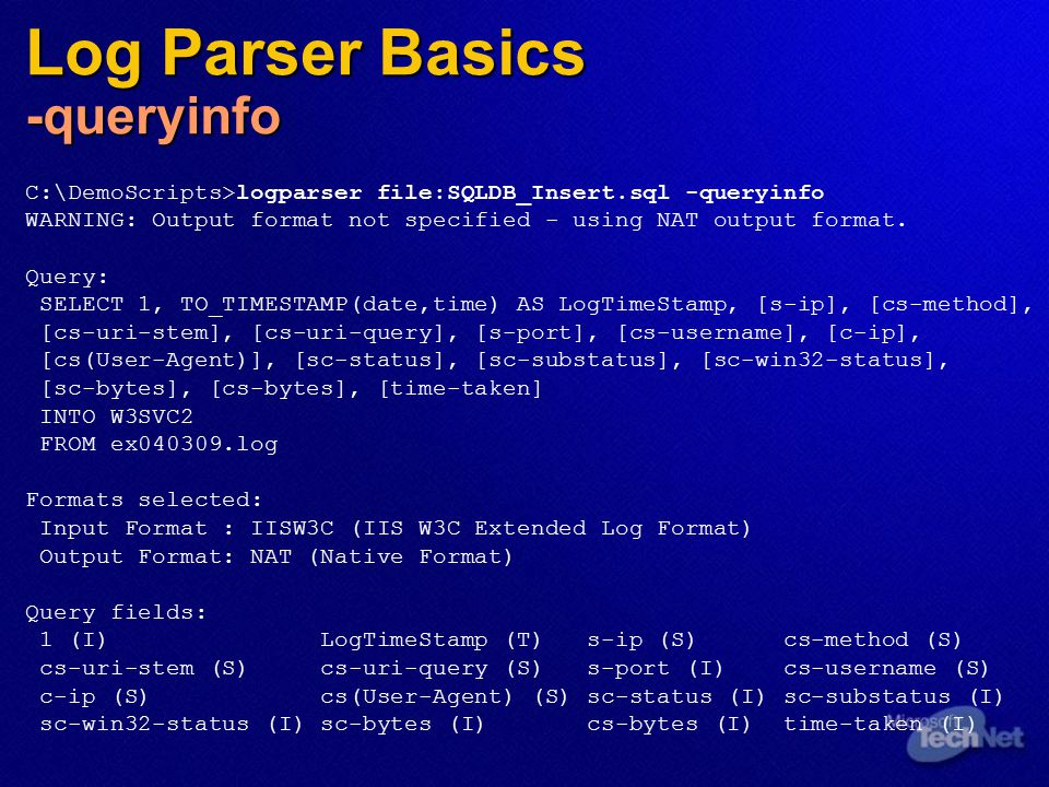 "IIS Data Mining with Log Parser 2 X"" - ppt video online download"