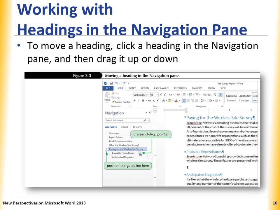 Working with Headings in the Navigation Pane