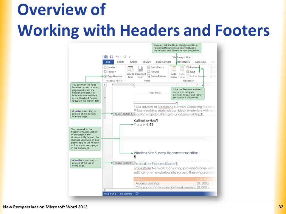 Overview of Working with Headers and Footers