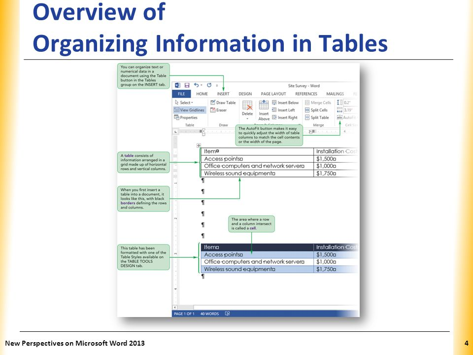 Overview of Organizing Information in Tables