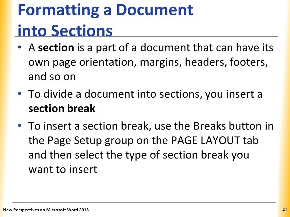 Formatting a Document into Sections