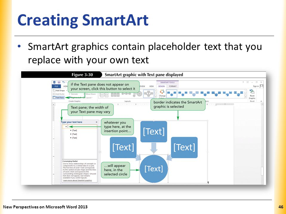 Creating SmartArt SmartArt graphics contain placeholder text that you replace with your own text.