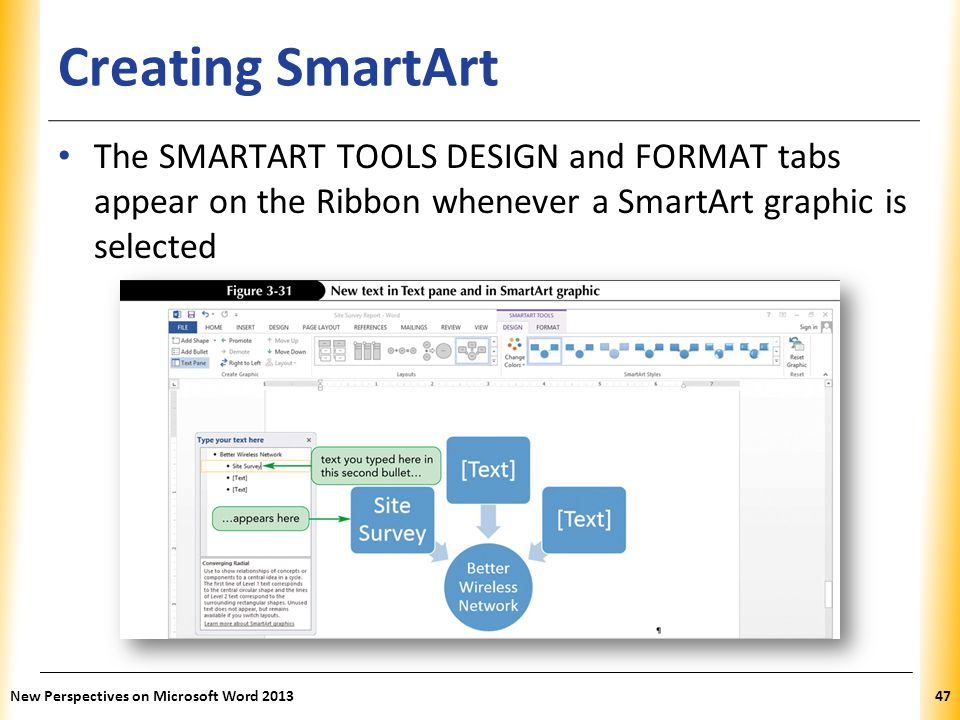 Creating SmartArt The SMARTART TOOLS DESIGN and FORMAT tabs appear on the Ribbon whenever a SmartArt graphic is selected.