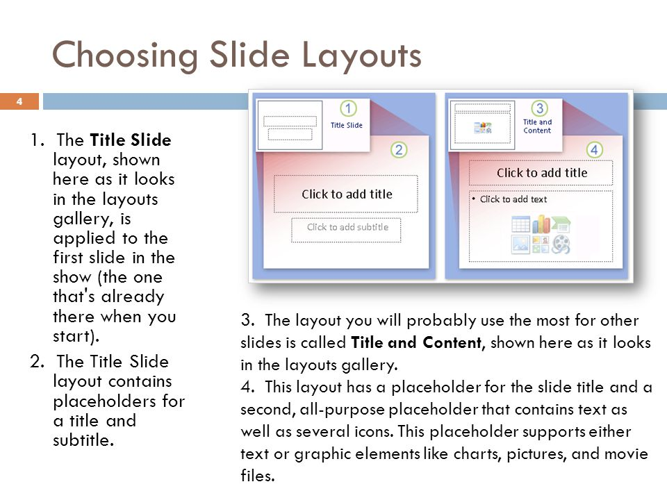 Choosing Slide Layouts