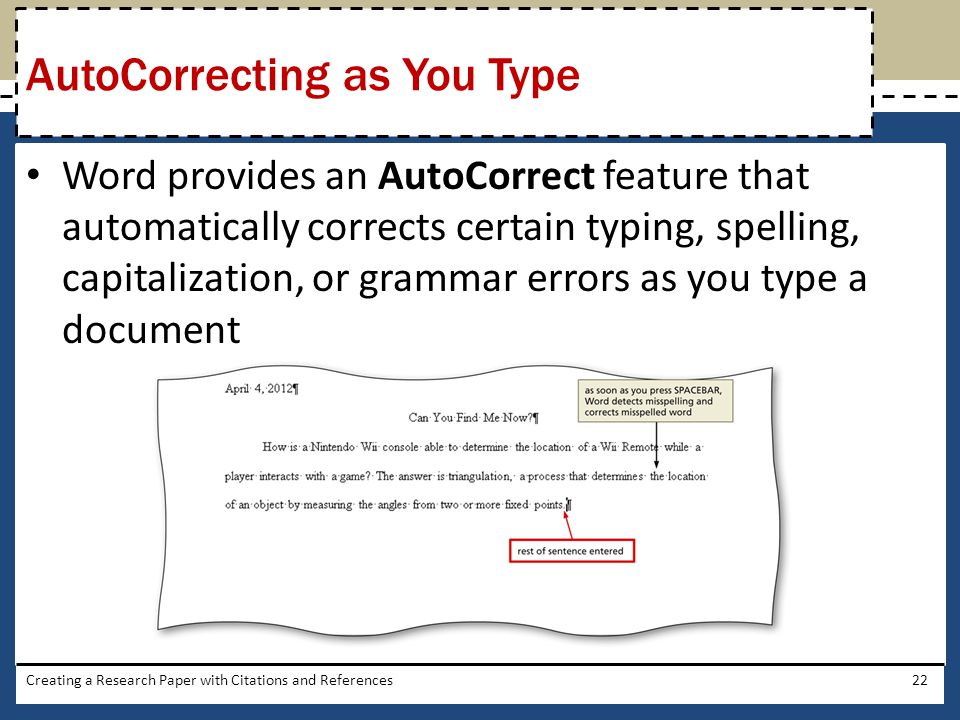 AutoCorrecting as You Type