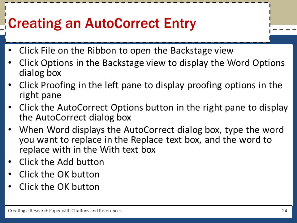 Creating an AutoCorrect Entry