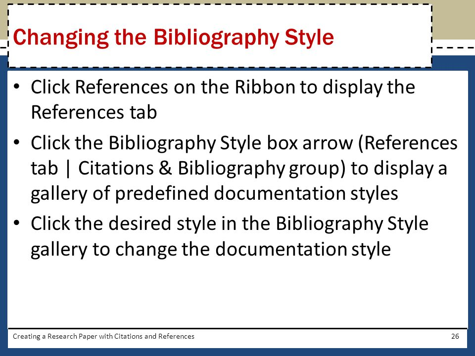 Changing the Bibliography Style