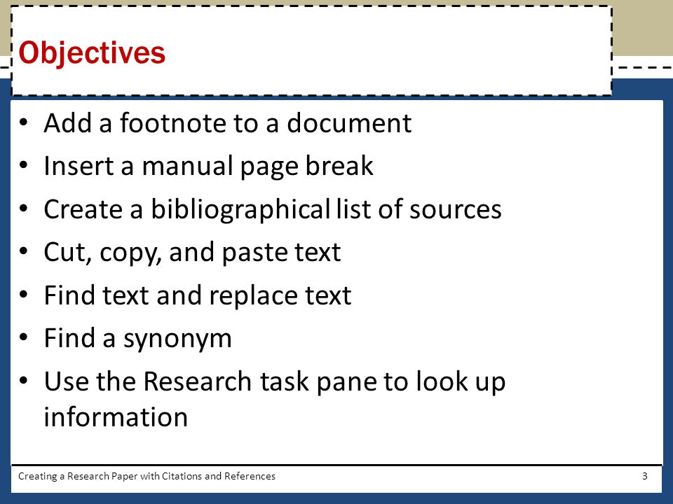 Objectives Add a footnote to a document Insert a manual page break
