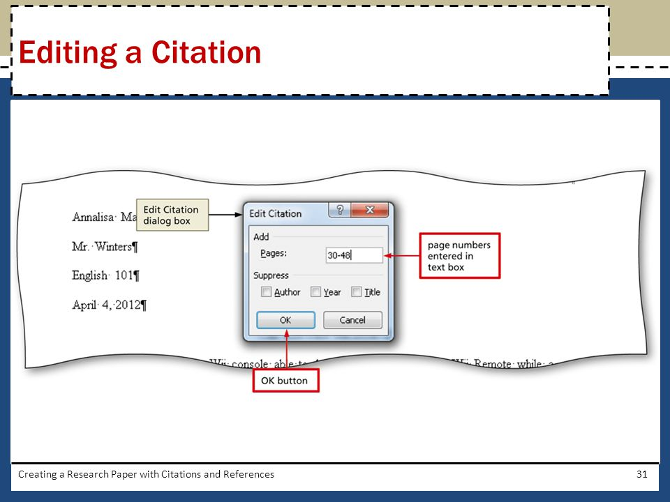 Editing a Citation Creating a Research Paper with Citations and References