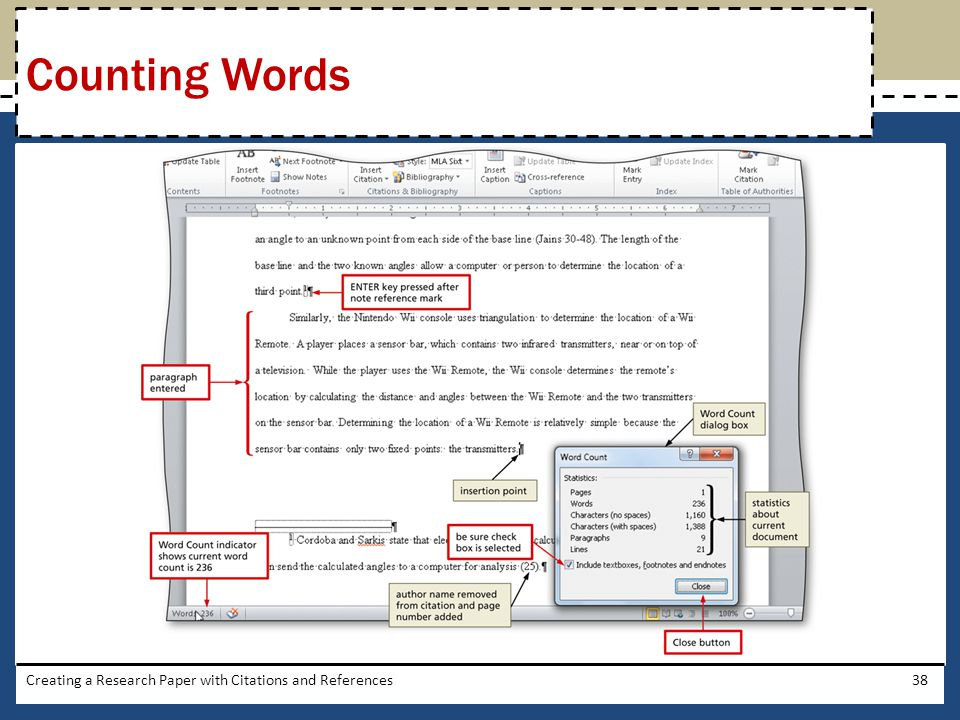 Counting Words Creating a Research Paper with Citations and References
