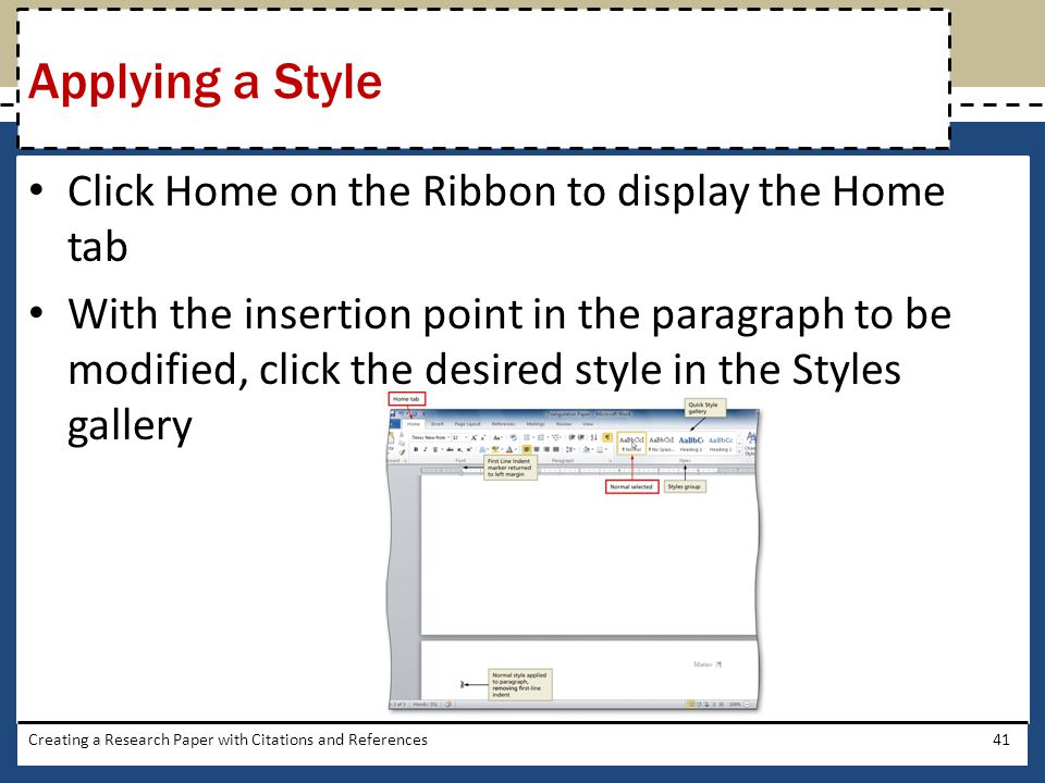 Applying a Style Click Home on the Ribbon to display the Home tab