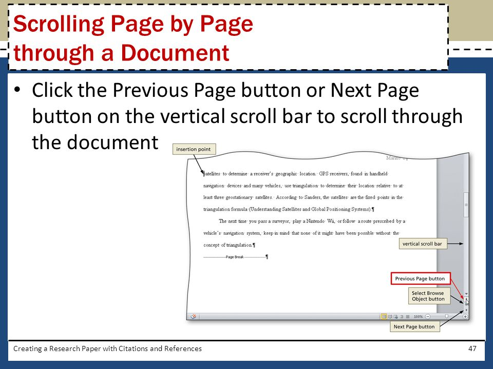 Scrolling Page by Page through a Document