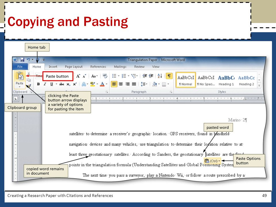 Copying and Pasting Creating a Research Paper with Citations and References