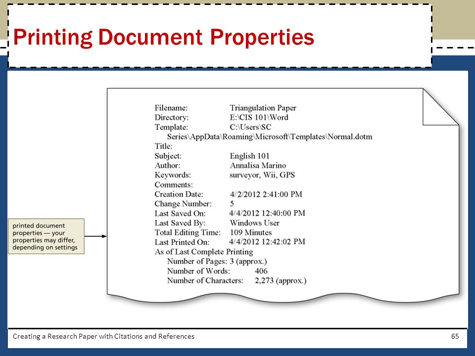 Printing Document Properties