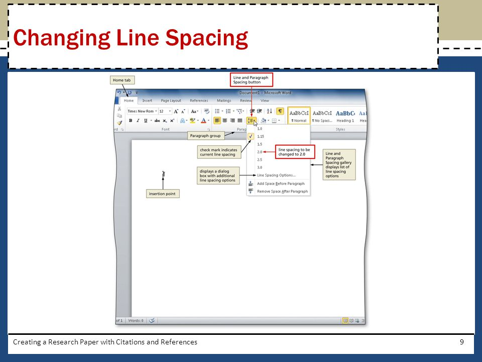 Changing Line Spacing Creating a Research Paper with Citations and References