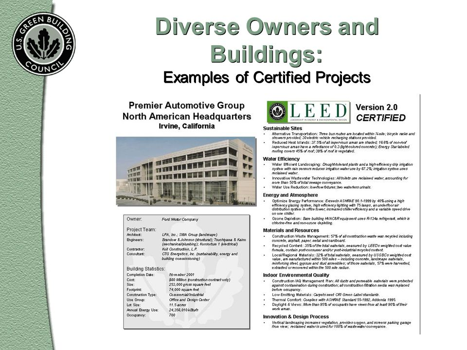 Diverse Owners and Buildings: Examples of Certified Projects