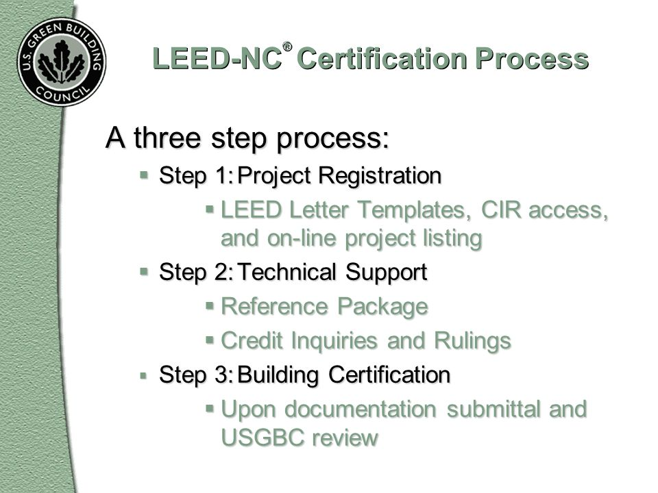 LEED-NC® Certification Process