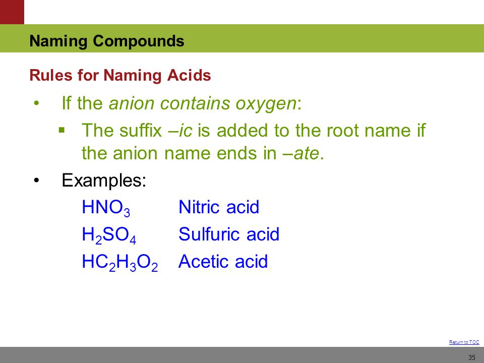 Chapter 4 Nomenclature How to name compounds from formula or