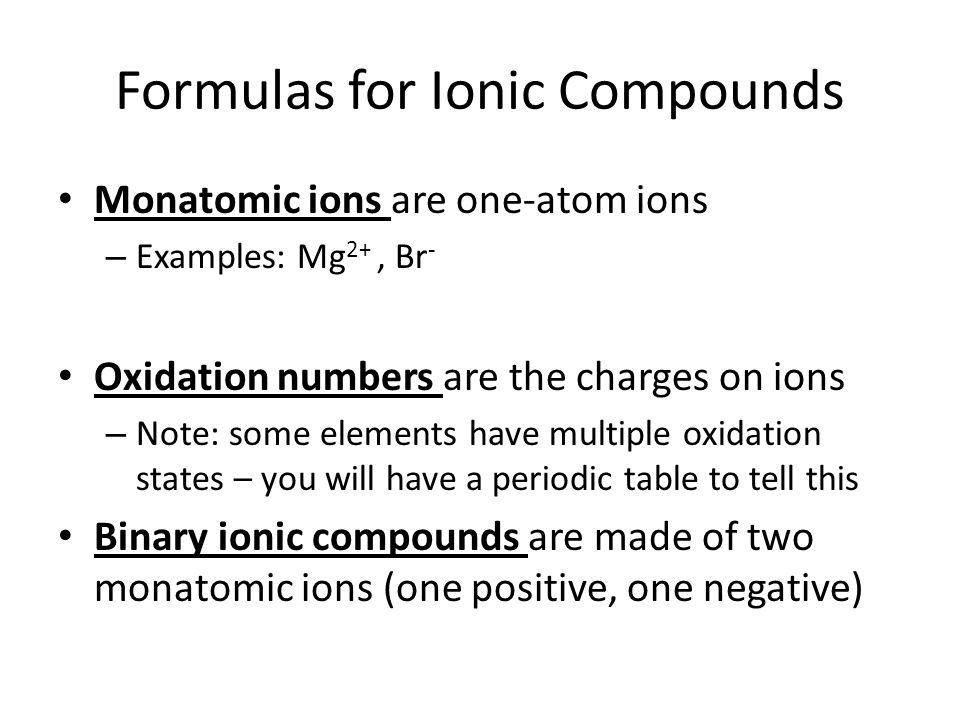 Formulas for Ionic Compounds