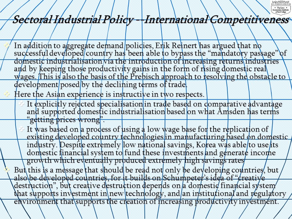 Sectoral Industrial Policy --International Competitiveness