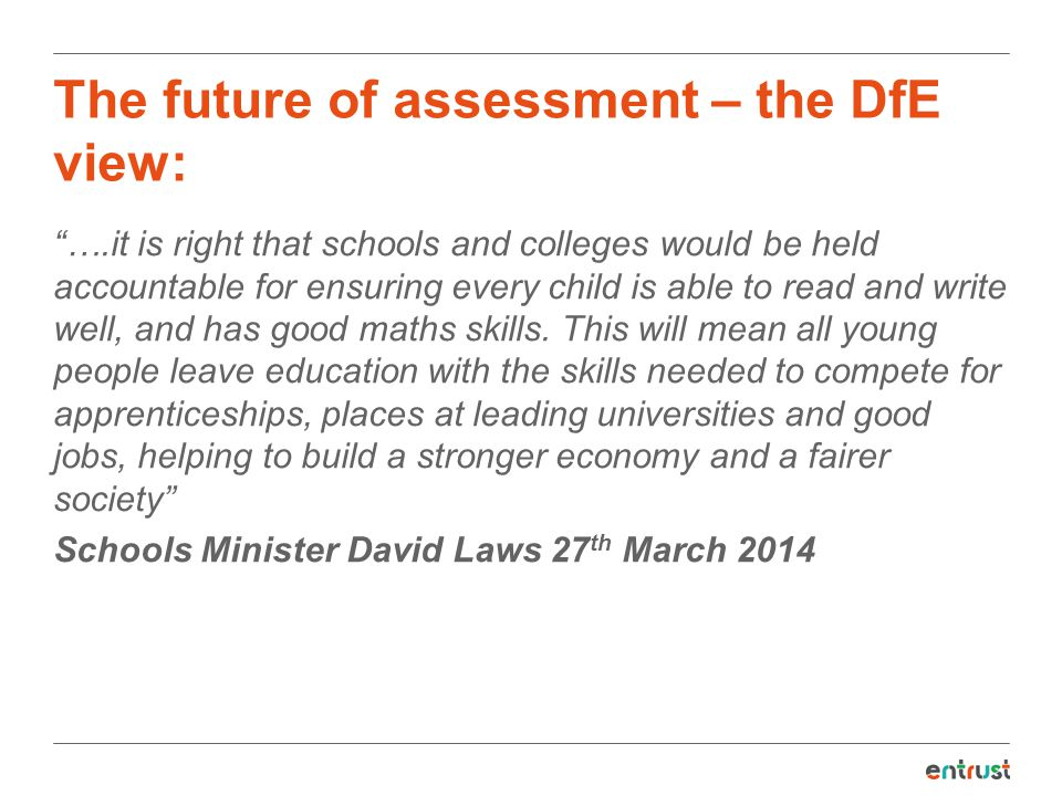 The future of assessment – the DfE view: