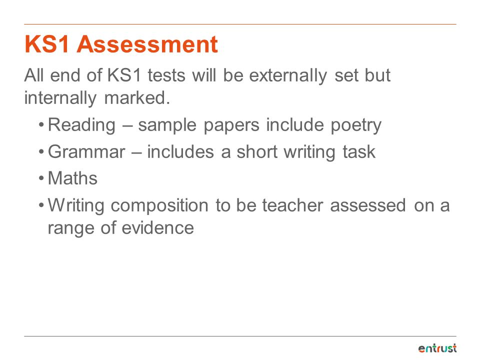 KS1 Assessment All end of KS1 tests will be externally set but internally marked. Reading – sample papers include poetry.