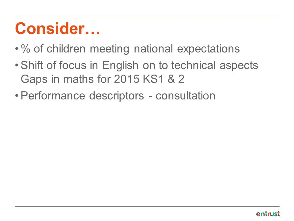Consider… % of children meeting national expectations