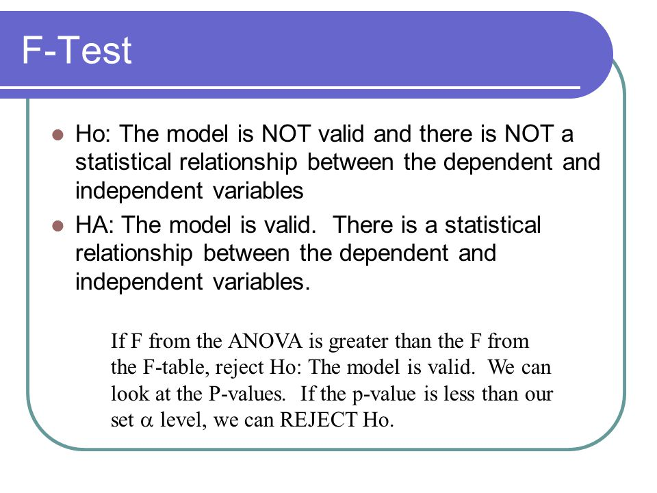 F-Test Ho: The model is NOT valid and there is NOT a statistical relationship between the dependent and independent variables.