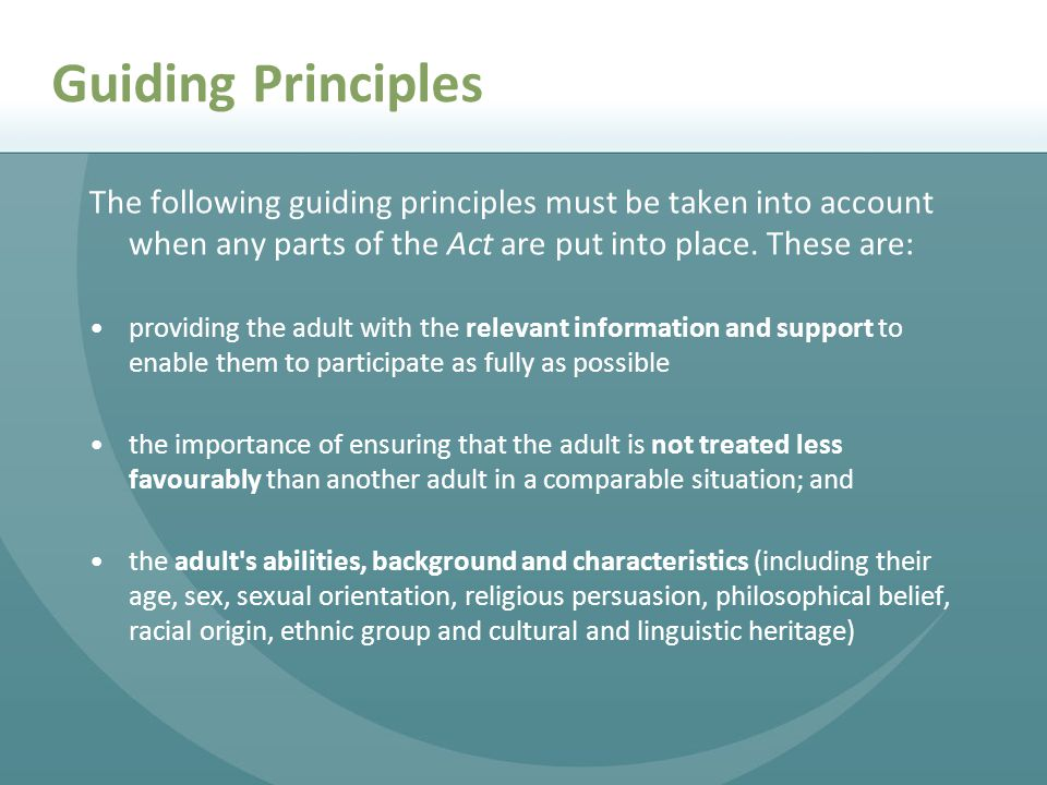 Guiding Principles The following guiding principles must be taken into account when any parts of the Act are put into place. These are: