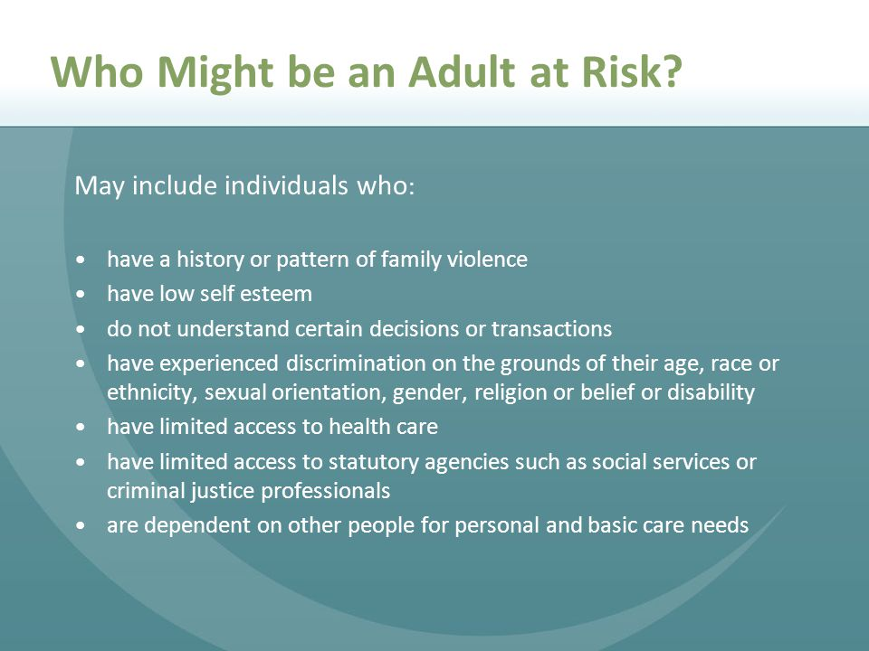 Who Might be an Adult at Risk