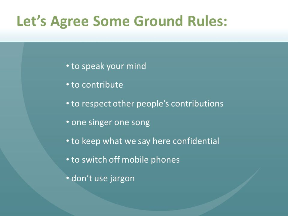 Let's Agree Some Ground Rules: