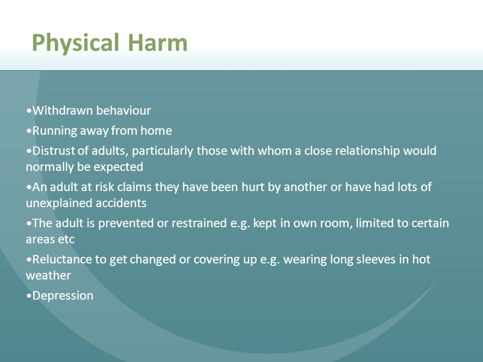 Physical Harm Withdrawn behaviour Running away from home