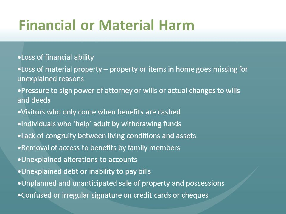 Financial or Material Harm