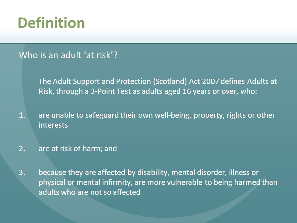 Definition Who is an adult 'at risk'