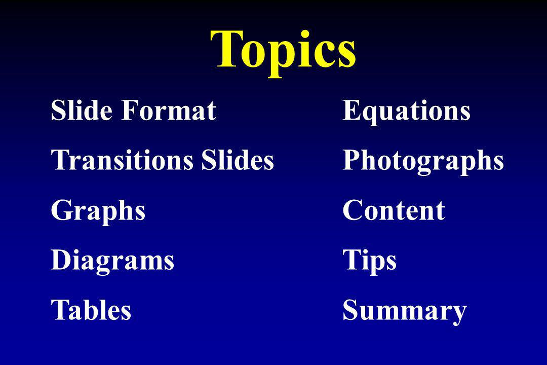 Topics Slide Format Equations Transitions Slides Photographs