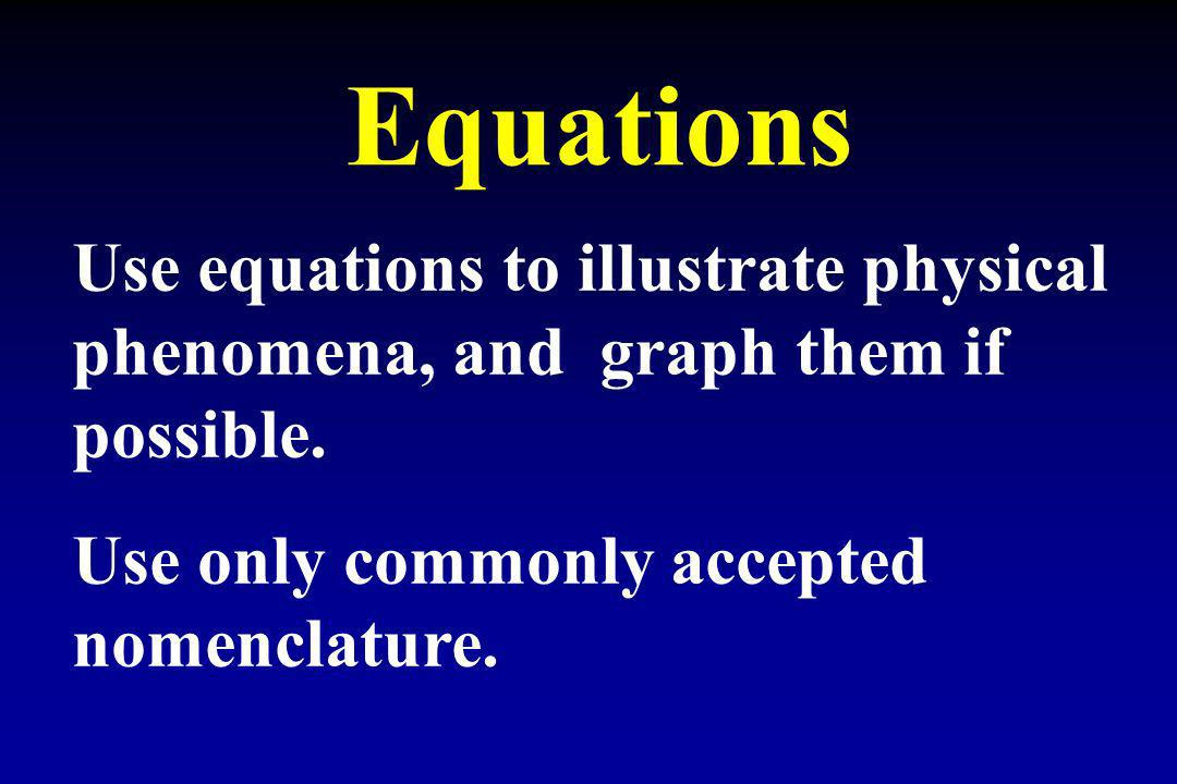 Equations Use equations to illustrate physical phenomena, and graph them if possible.
