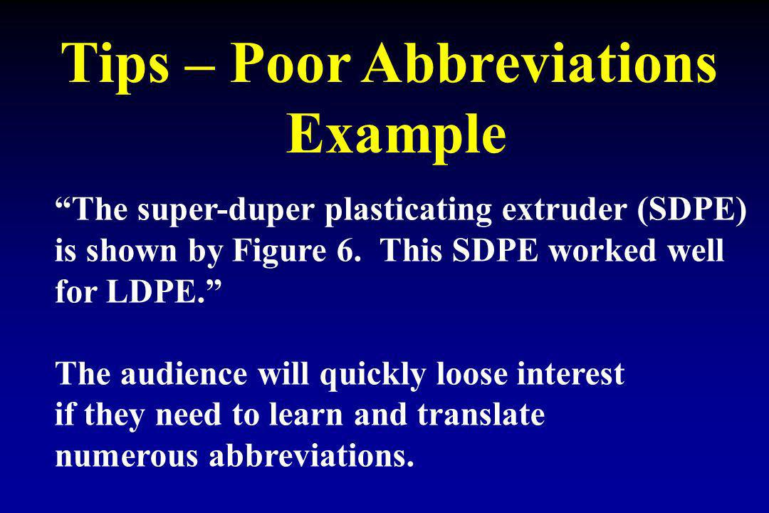 Tips – Poor Abbreviations