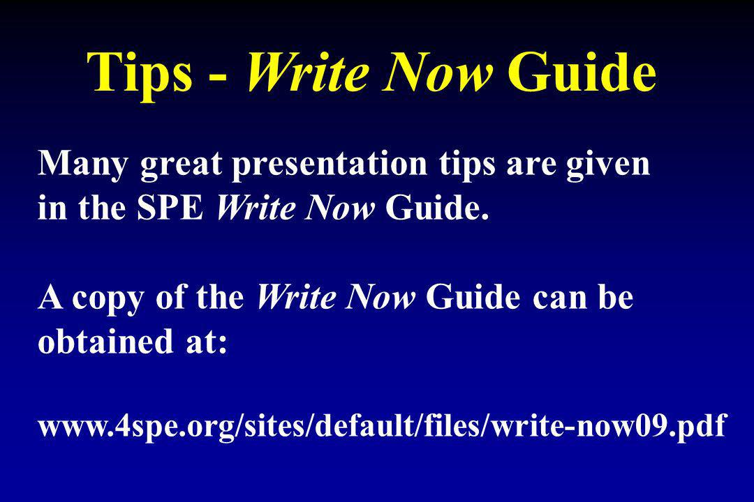 Tips - Write Now Guide Many great presentation tips are given