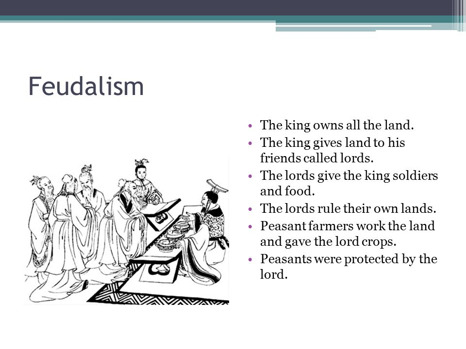 Feudalism The king owns all the land.