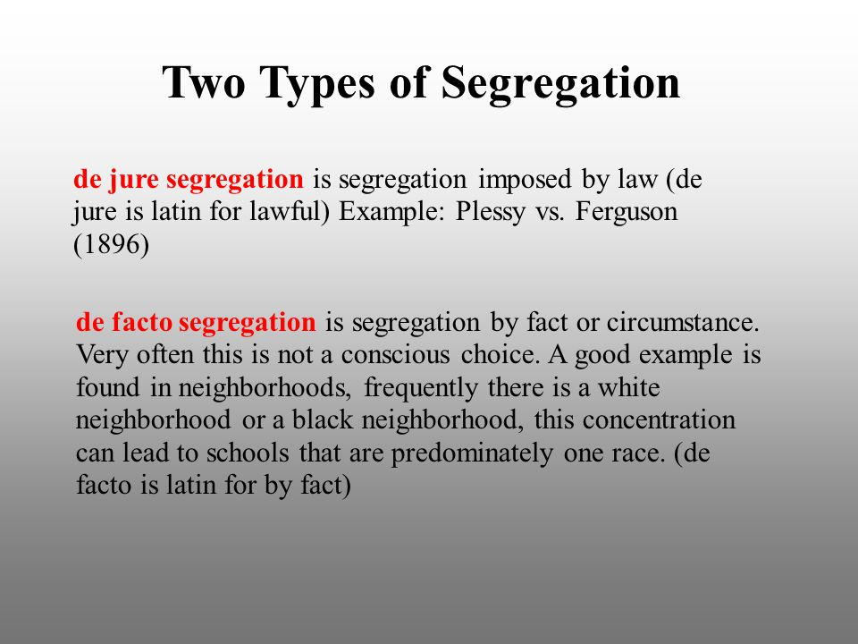 De jure segregation vs de facto segregation flashcards | quizlet.
