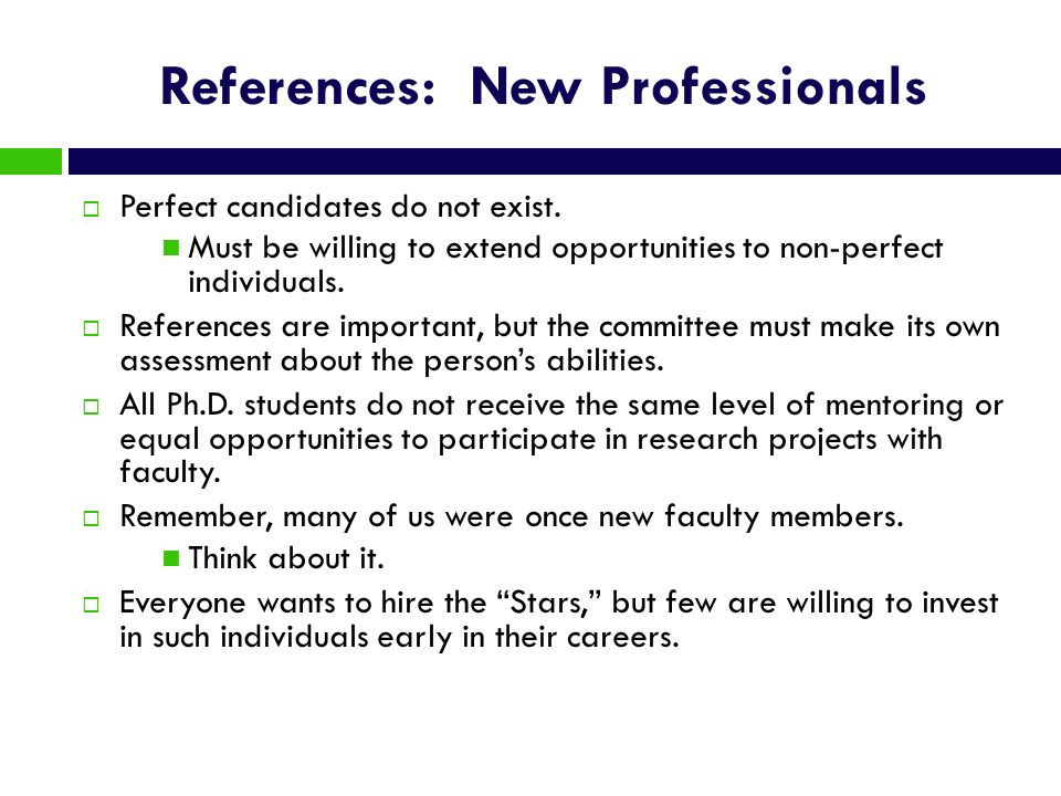 References: New Professionals