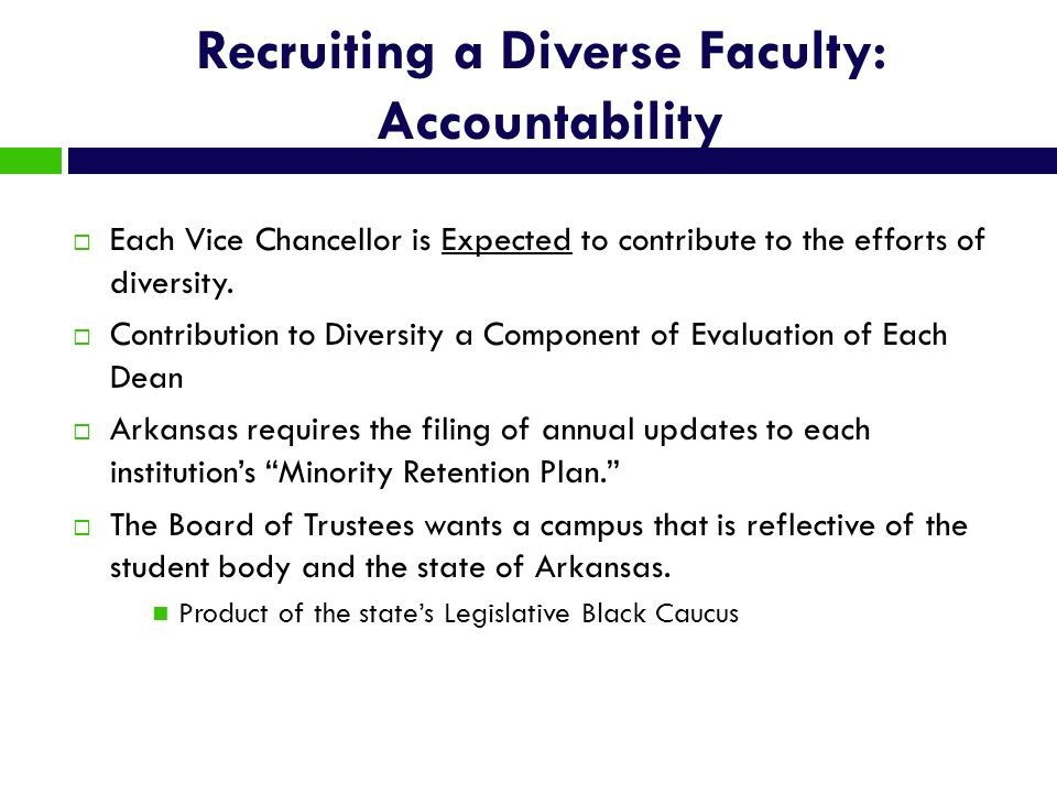 Recruiting a Diverse Faculty: Accountability