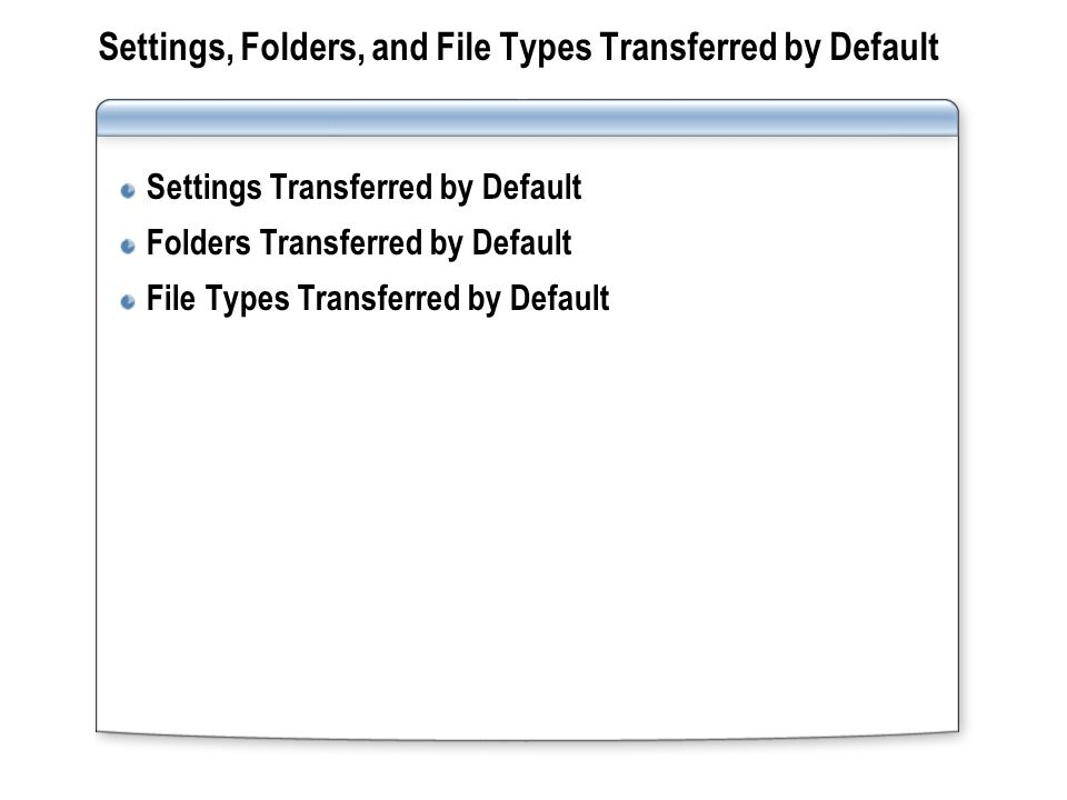 Settings, Folders, and File Types Transferred by Default