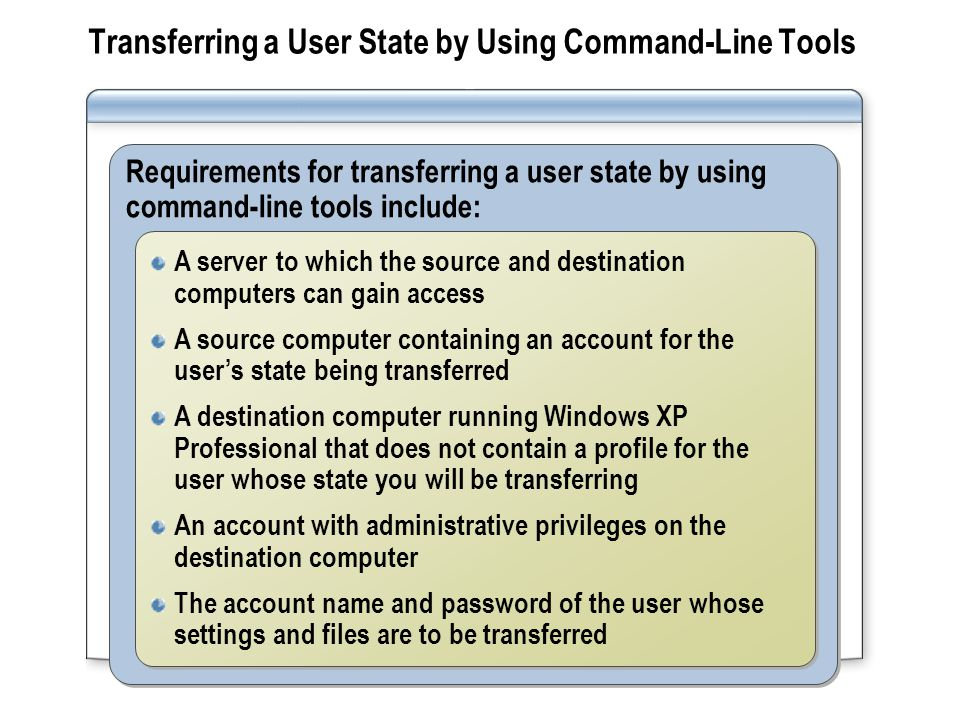 Transferring a User State by Using Command-Line Tools
