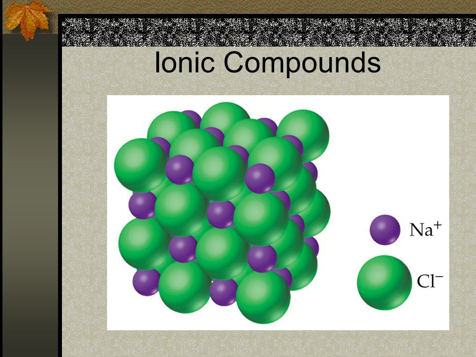 Ionic Compounds If you could see the individual ions in a crystal of sodium chloride you would see that they are arranged in a specific pattern.