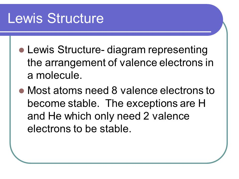 Lewis Structure Lewis Structure- diagram representing the arrangement of valence electrons in a molecule.