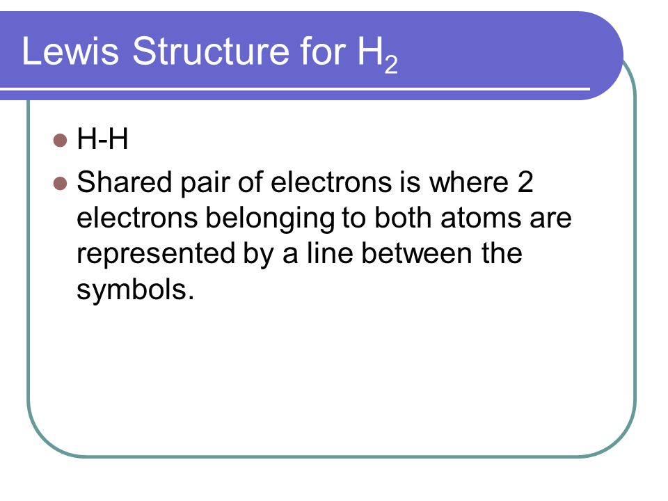 Lewis Structure for H2 H-H