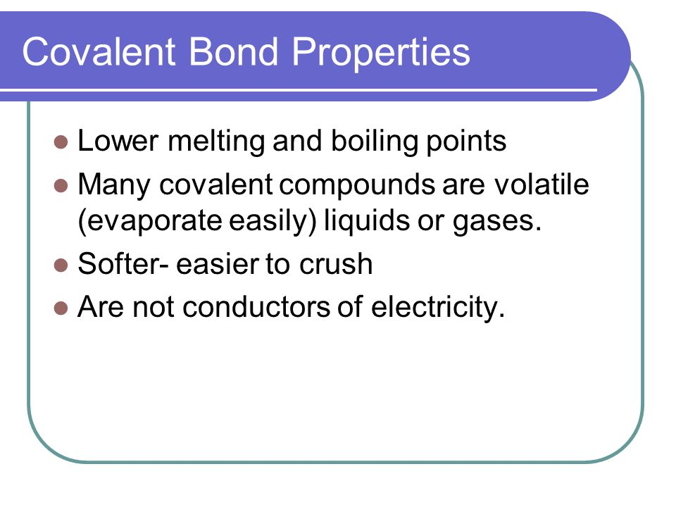 Covalent Bond Properties